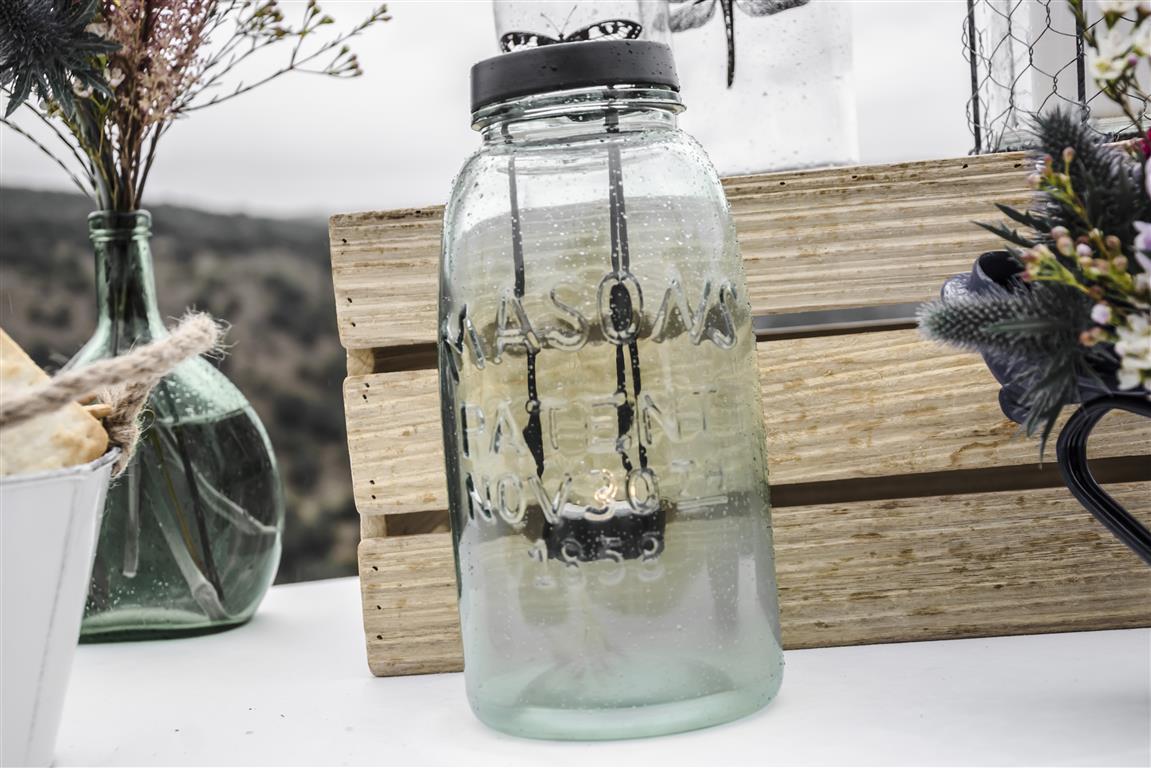 portavelas de cristal con relieve